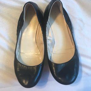 Black Nine West Flats Leather